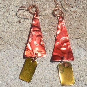 Embossed Pure Copper Red Chartreuse Earrings Drop